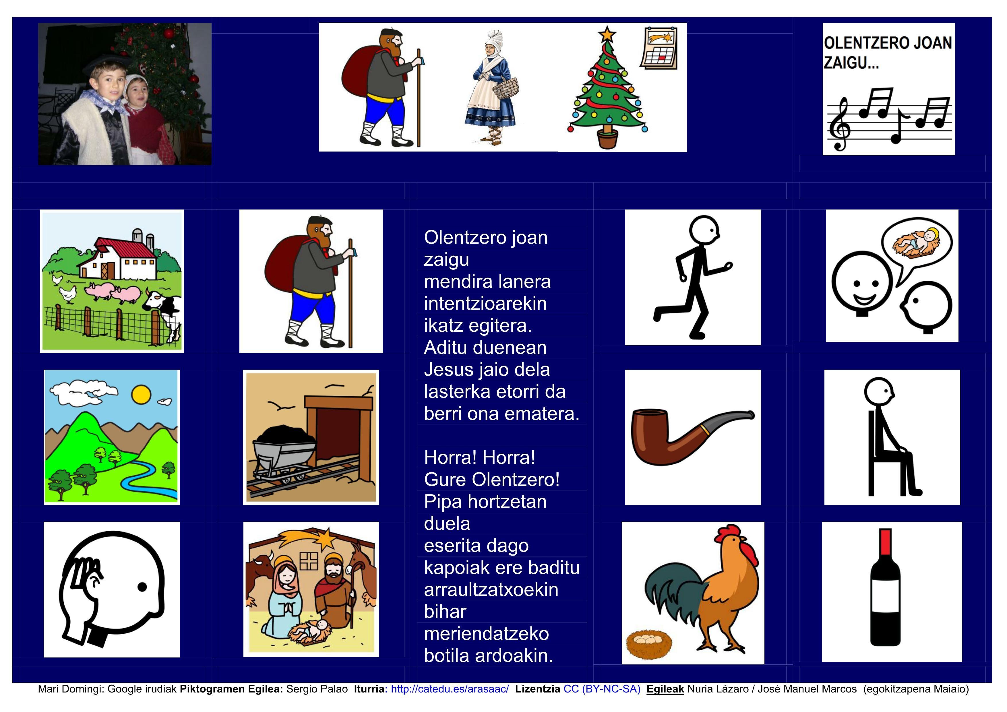 Olentzero Joan Zaigu Abestia Adaptación En Euskera De Tablero De Comunicación Arasaac Mari Domingi Tableros De Comunicación Euskera Aprender Educacion