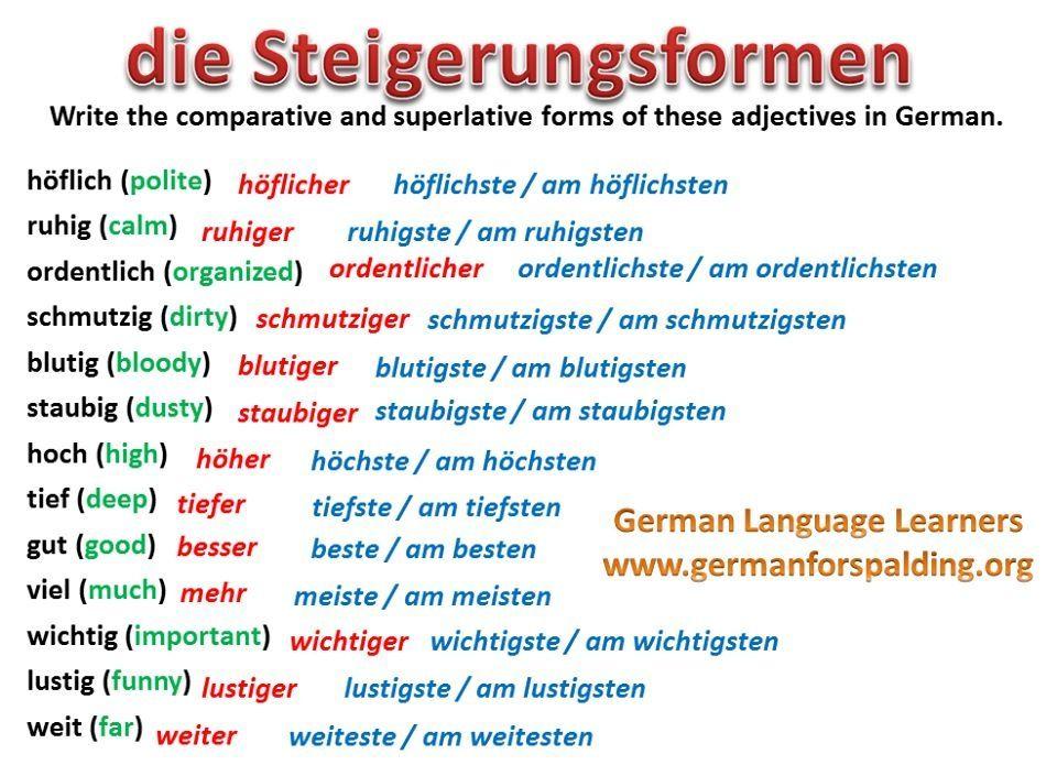 Steigerungsformen   kreadeutschgrammatik   Pinterest   Learn german ...