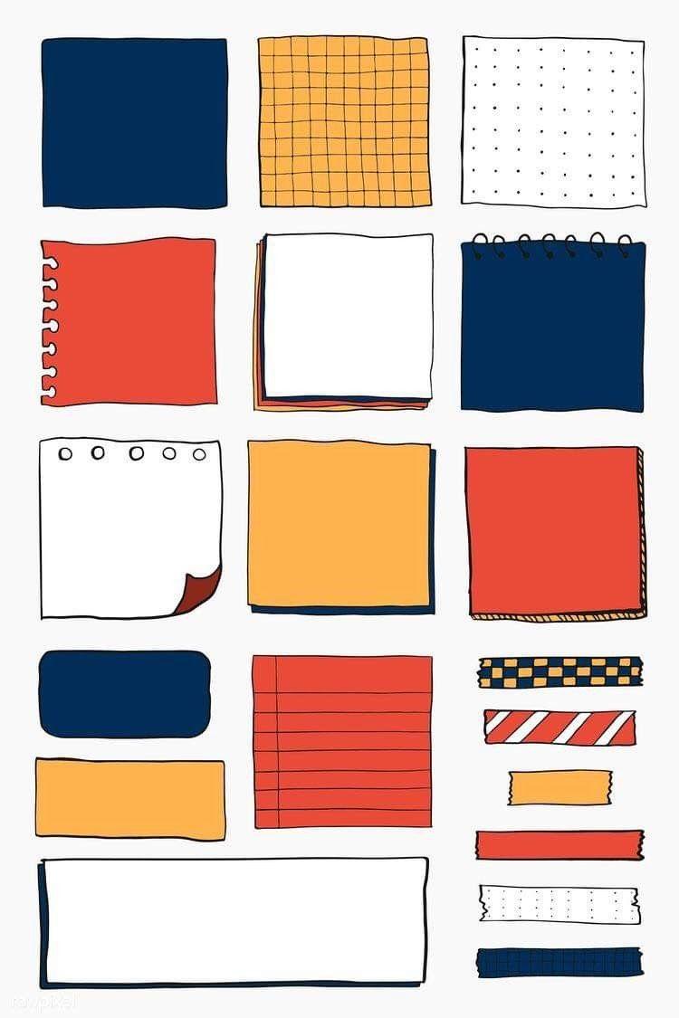 Dibujos De Notas De Papel Decoradas Libreta De Apuntes Adornos Para Cuadernos Decoraciones Para Trabajos