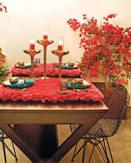 Layer Your Dining Table With Beautiful Flowers And Candles To Brighten Up Diwali