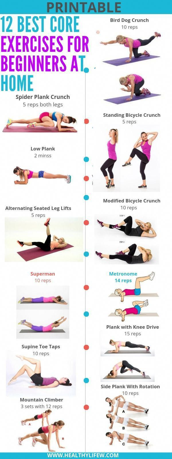 These 12 Best Core Exercises For Beginners At Home Are Good Workouts For A Beginner As Best Core Workouts Core Exercises For Beginners Beginner Workout At Home