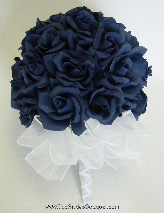 36 Navy Blue Roses - Silk Flower Bridal Bouquet - Wedding ...