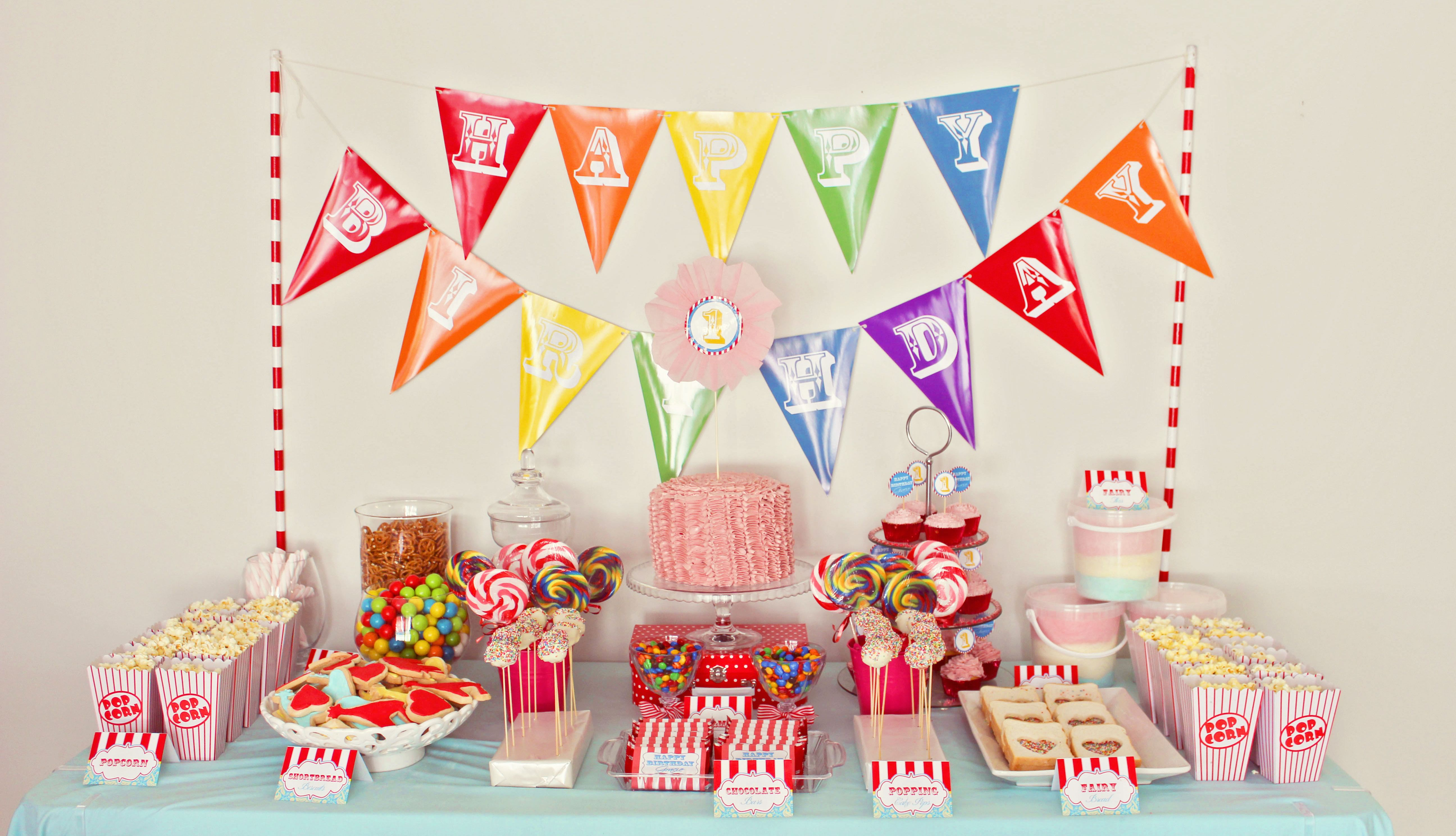 Circus theme dessert table for girls first birthday 1st birthday