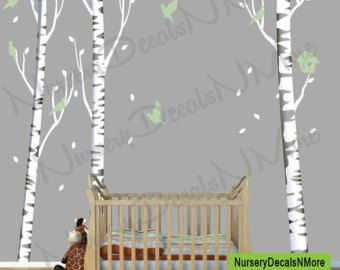 Repositionable Birch Tree Decal More by NurseryDecalsNMore2
