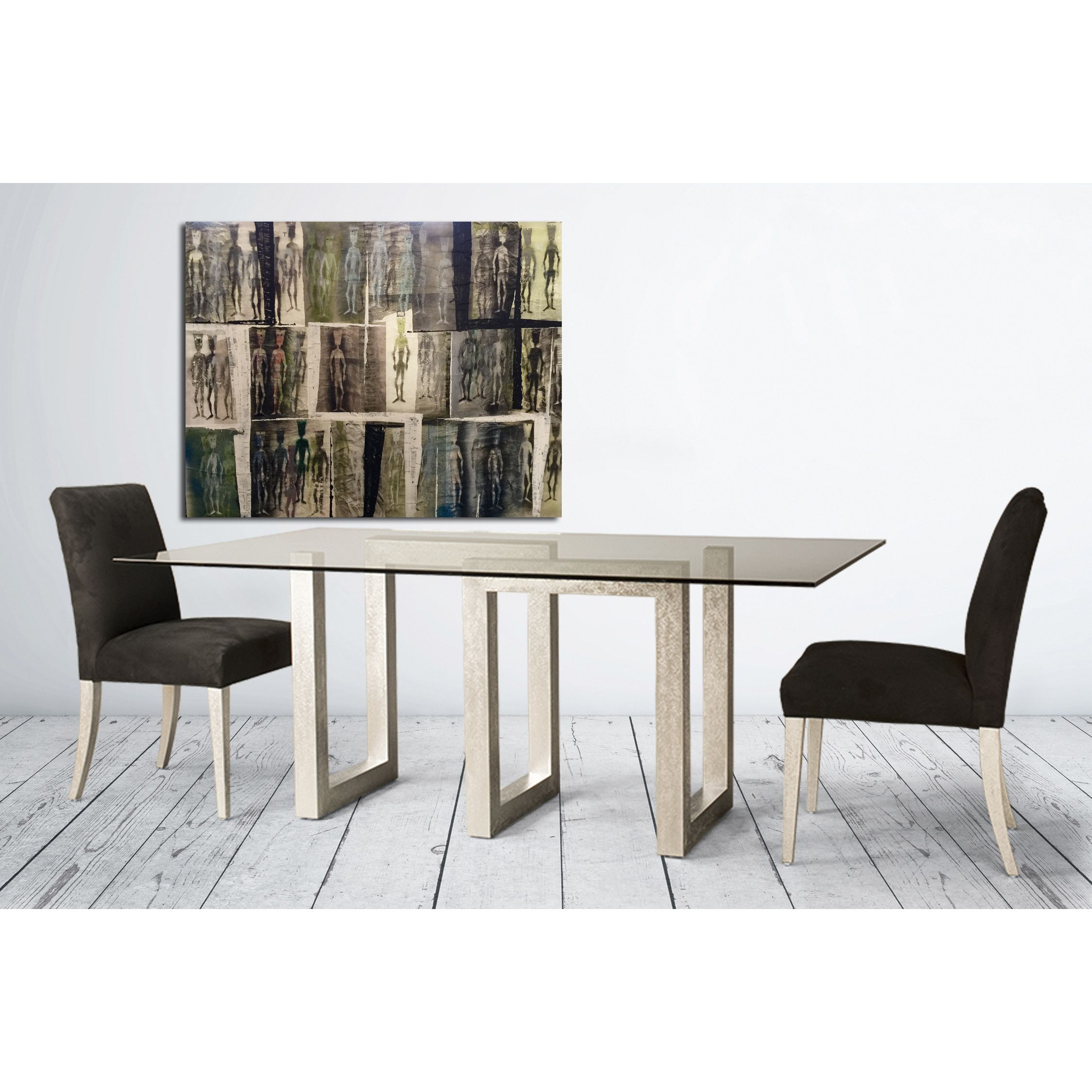 This glass dining table with its unique modern design features a ...