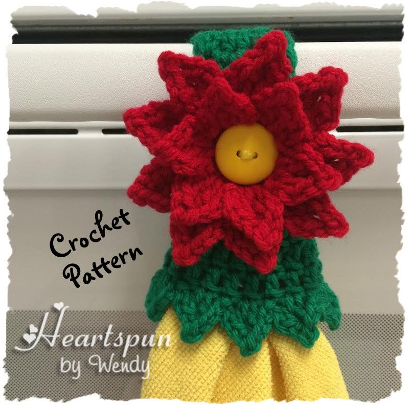 CROCHET PATTERN to make a Christmas Poinsettia Kitchen or Bath Towel ...