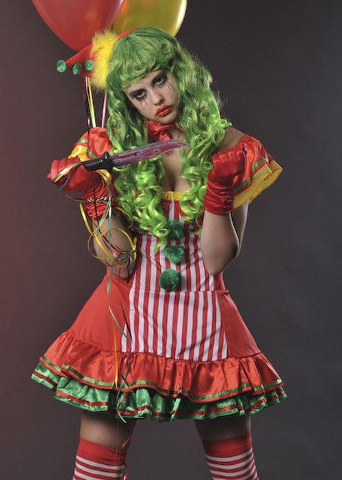 Girls Teen Neon Cool Clown Circus Carnival Fancy Dress Halloween Costume Outfit