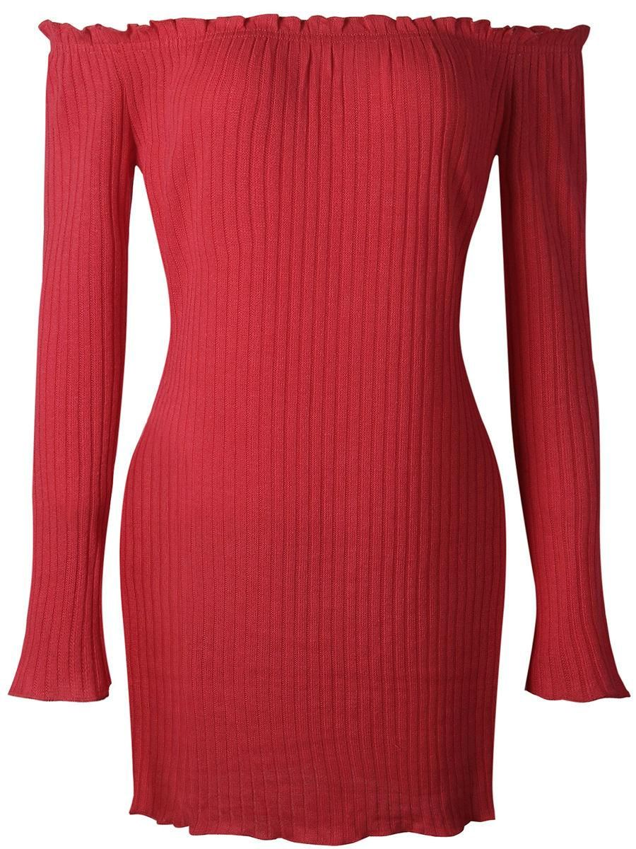 Fashionmia fashionmia off shoulder plain knitted mini bodycon