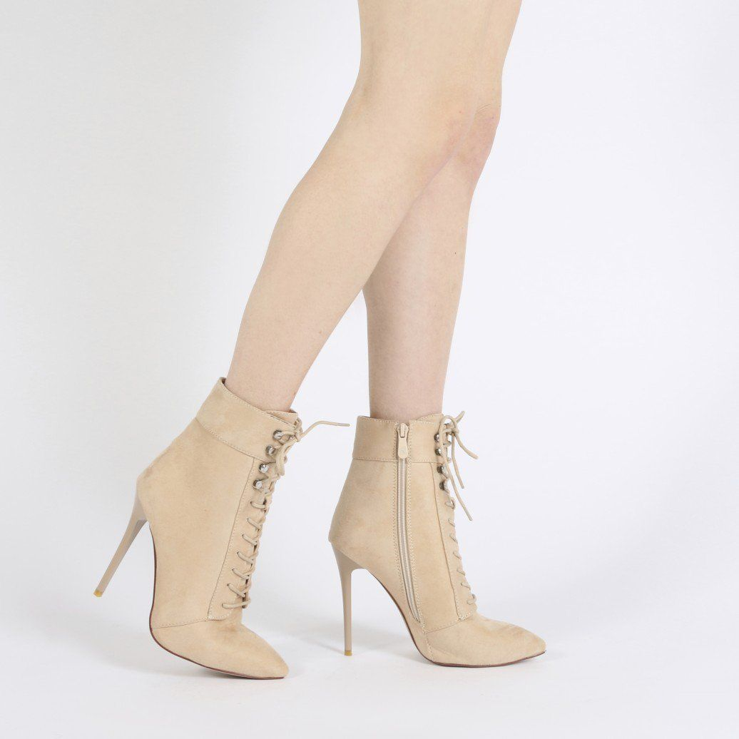 Arabella Hook Lace Up Ankle Boots in Nude Faux Suede   Public Desire