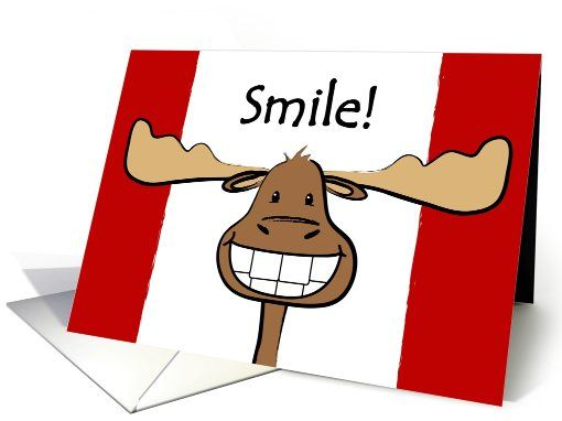 Canada Day Canadian Flag Happy Moose Greeting Card Greeting – Birthday Cards Canada