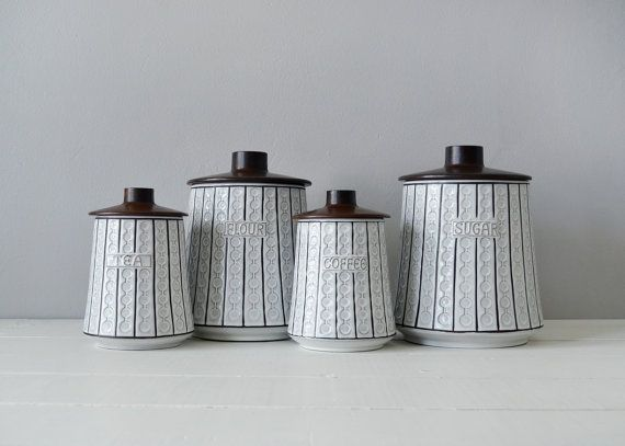 Mid Century Kitchen Canisters Ceramic Canister By Timberandtwine