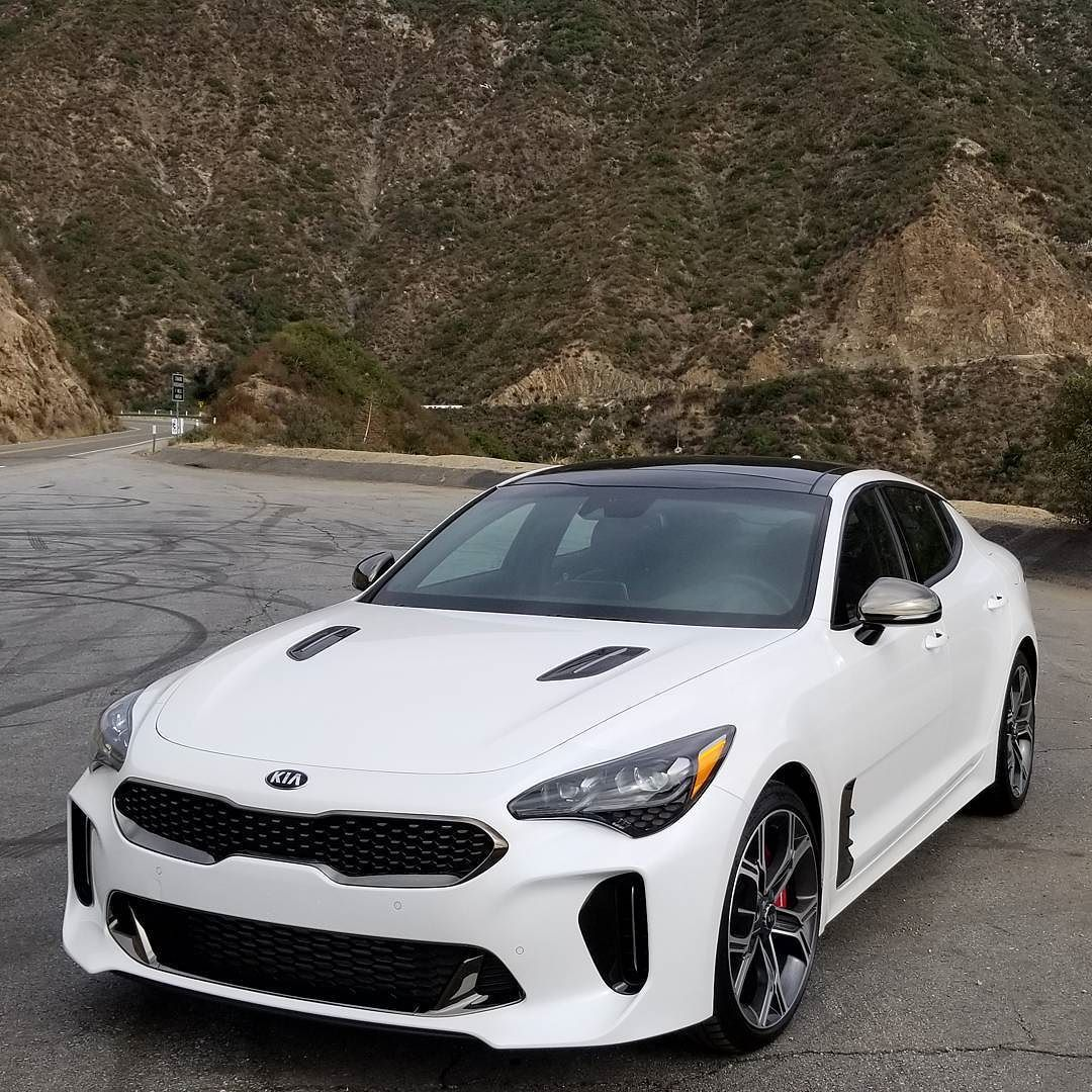 The 2018 Kia Stinger In White I D Drive It Mediadrive Kia Kiastinger Stingerishere La California Kia Stinger Kia Dream Cars
