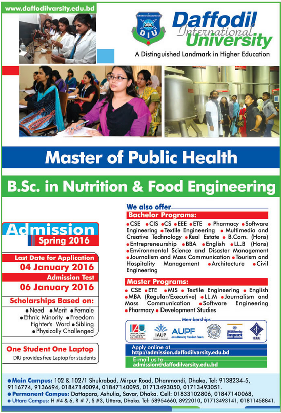 Admission Notice: Daffodil International University Offers Master of...