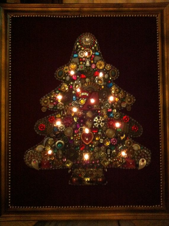 Christmas Tree Artwork Made From Costume Jewelry And Christmas Lights Jewelry Christmas Tree Christmas Tree Art Jeweled Christmas Trees