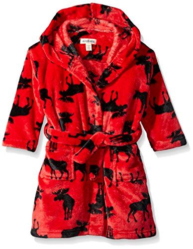 Little Blue House By Hatley Boys' Fleece Robe - Moose On Red ...