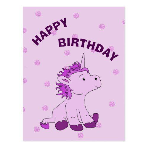 Cute Little Unicorn On Pink Happy Birthday Postcard Birthday Postcards
