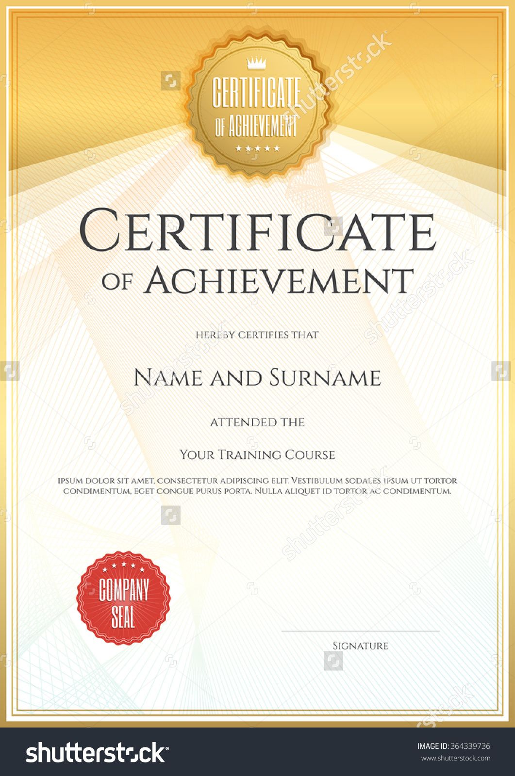 Certificate Design Format Sample Of Company Profile Template Stock