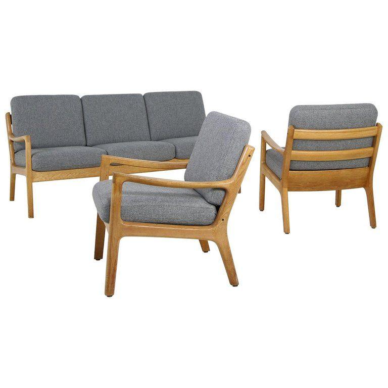 1960s Oak Living Room Set Sofa & Two Lounge Chairs Ole ...