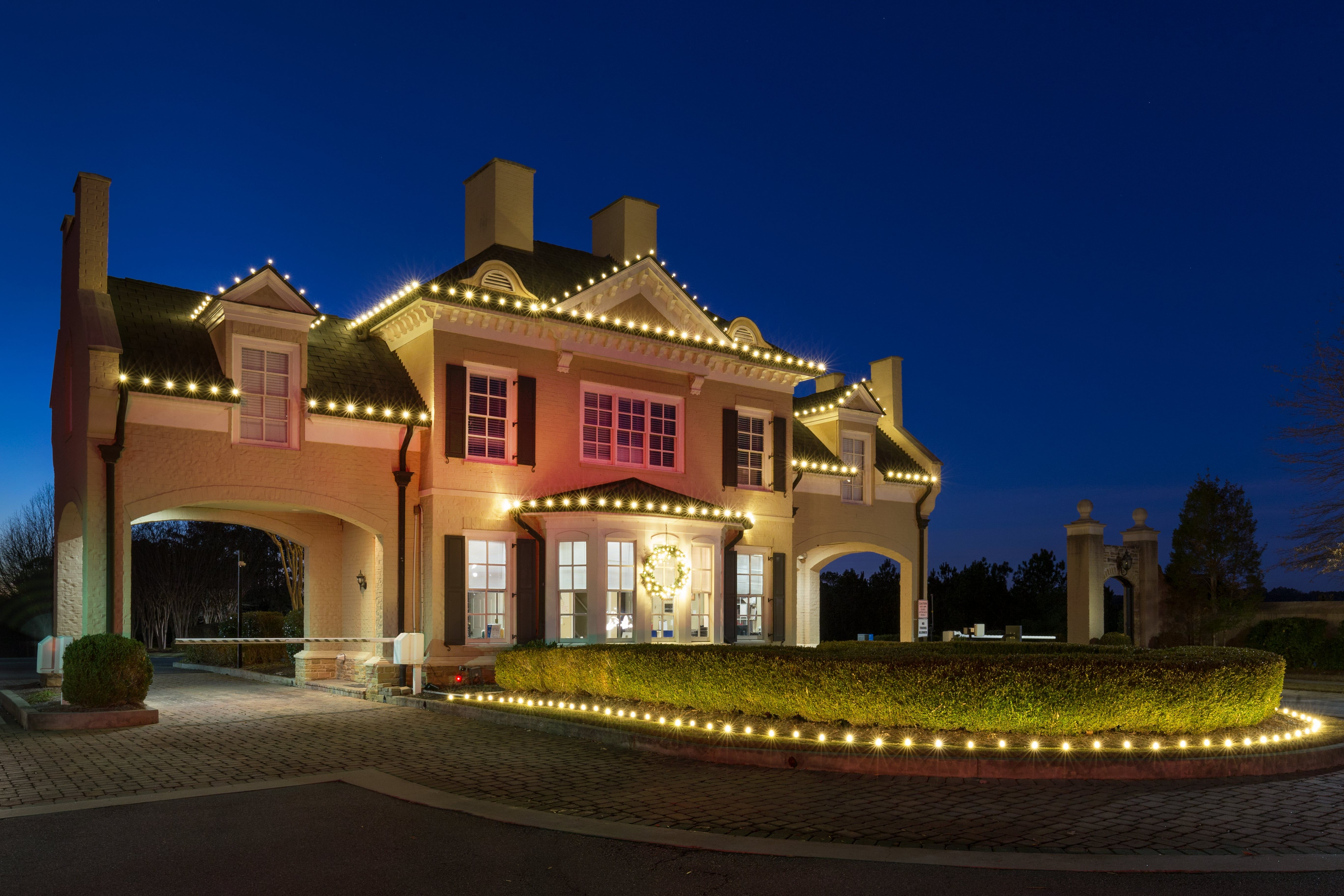 Beautiful Commercial Christmas Lighting Of A Security Building Neighborhood Entrance In Atlanta Ga Get More Design Ideas At The Links Below