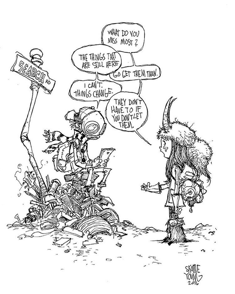 Another moment with Boy. #dailysketch original available http://skottieyoungstore.bigcartel.com #sketch #ink