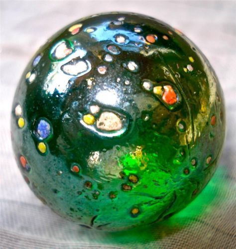 Vintage Green Iridescent W Multi Coloted Speckles Glass 1