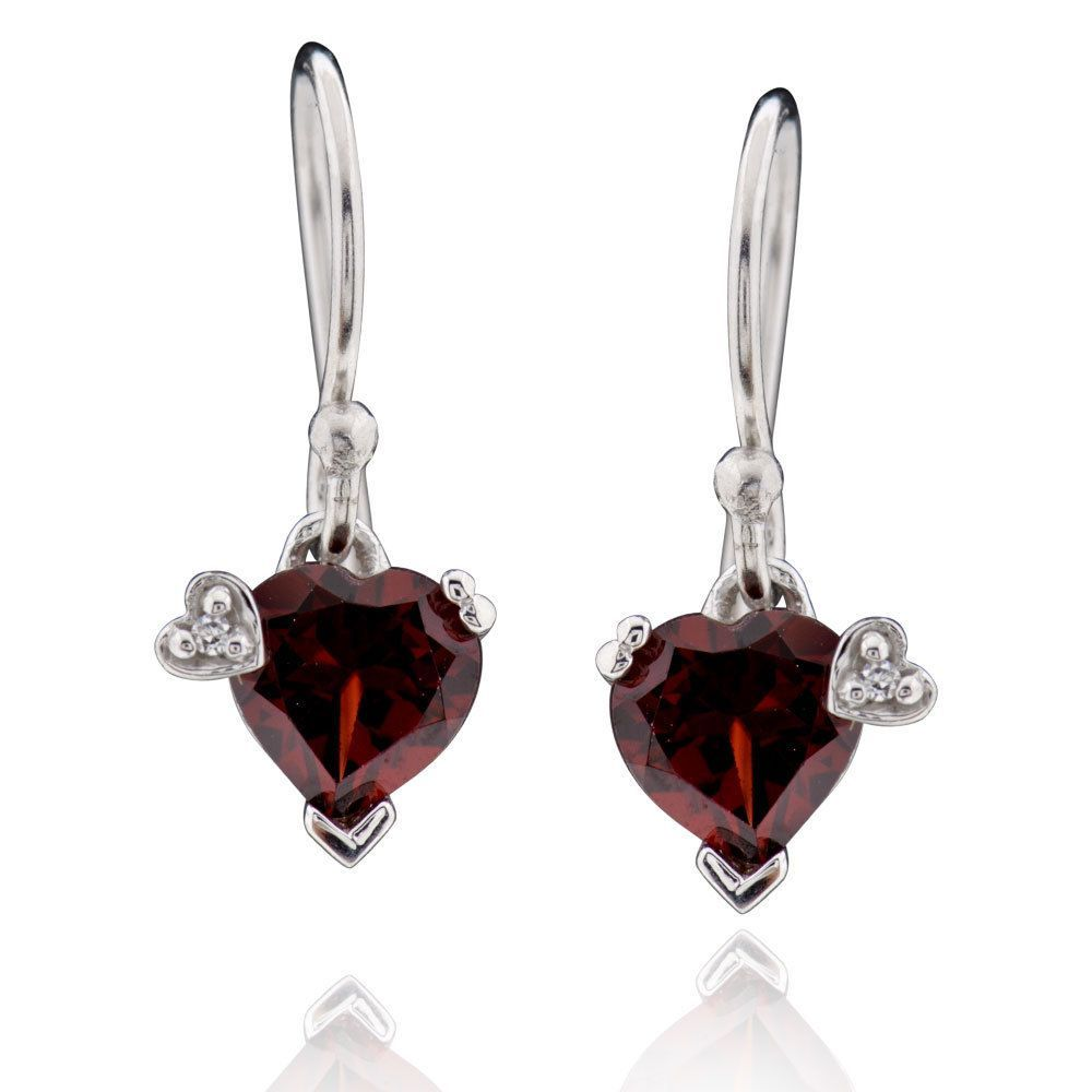 FD Sterling Silver Heart Garnet Dangle Earrings (China) (Earrings), Women's (Metal)