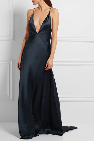 705978c5f6ca89 H h prom dresses. Ink-blue silk-satin Slips on 100% silk Dry clean Designer  color  Navy Imported As seen in The EDIT magazine