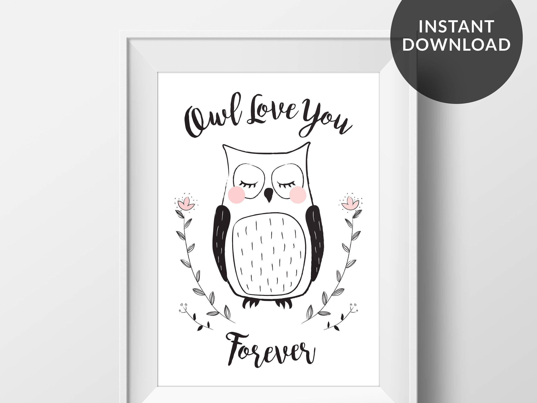 Owl Nursery Print Wall Decor Kids Playroom Art