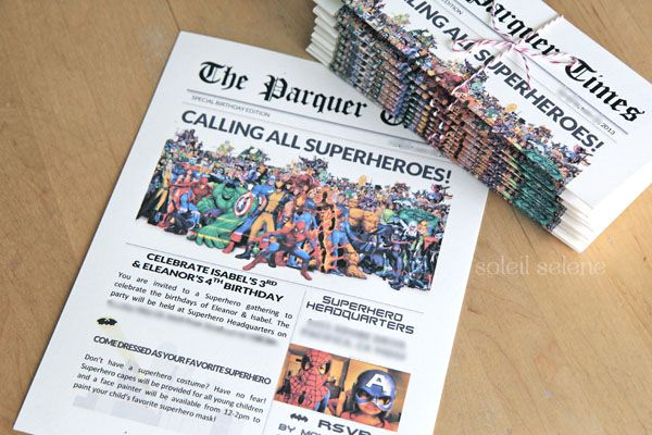 superhero newspaper invitation template google search
