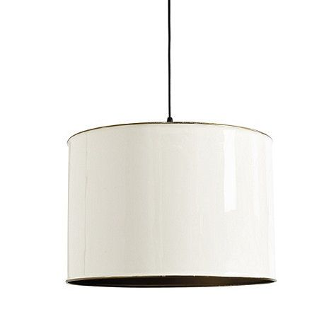 With its solid enameled finish and brass interior, our Lilly Drum Pendant creates a warm directional glow. Shade is crafted of iron with crisp, rolled edge. Lilly Drum Pendant features: Rolled edge matches brass finish interiorIncludes hardwire adapter