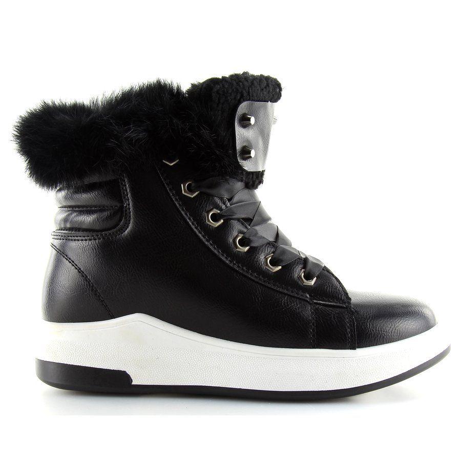 Sportowe Damskie Obuwiedamskie Czarne Ocieplane Buty Sportowe Kb 039 Black Obuwie Damskie Wedge Sneaker High Top Sneakers Shoes