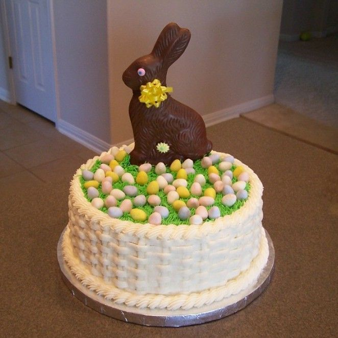 Her highness of cute easter dessert easter pinterest easter easter basket cake white cake wraspberry filling basketweave and grass are buttercream cadbury mini eggs and a chocolate bunny on top negle Images