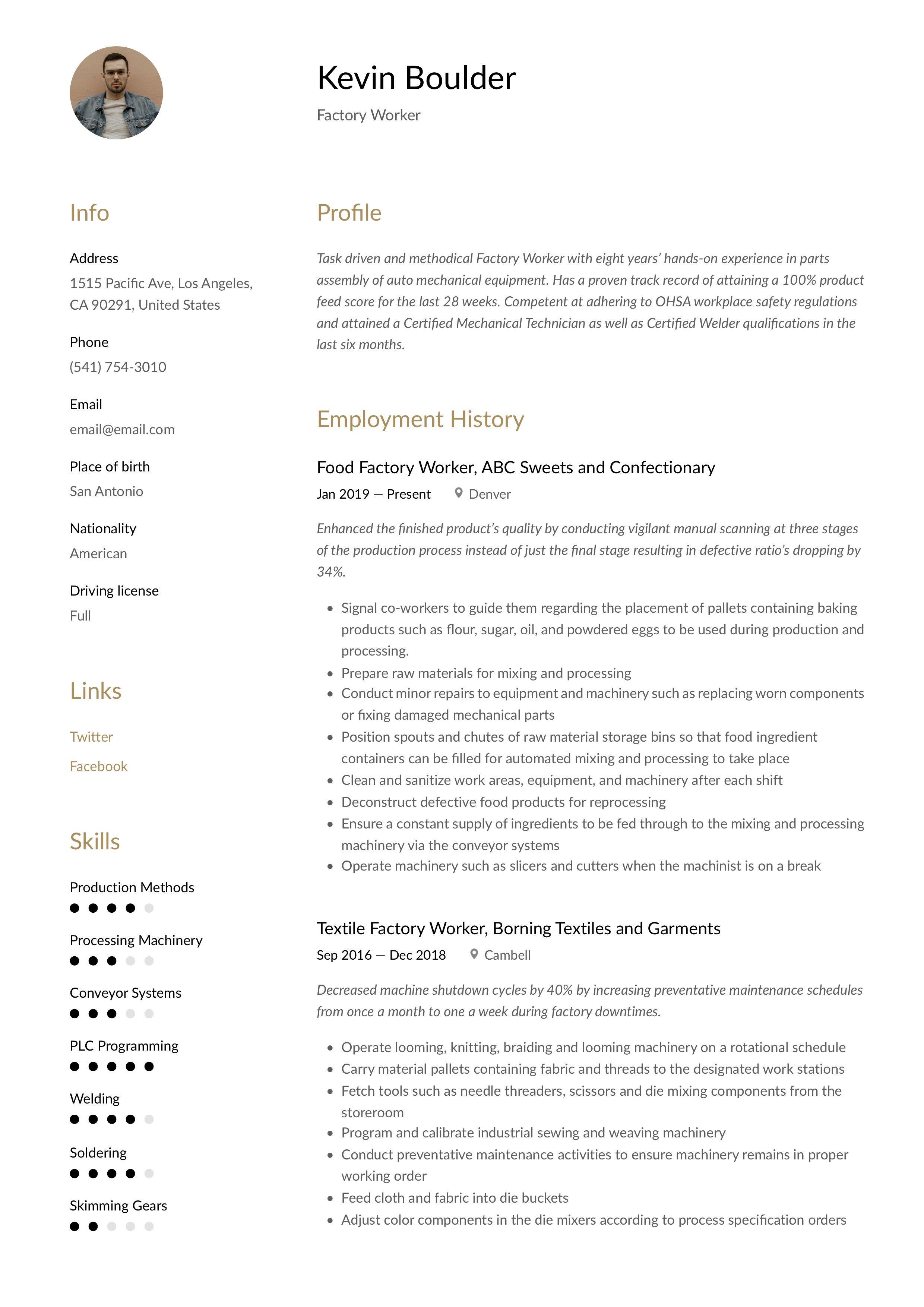 Factory worker resume template resume examples resume