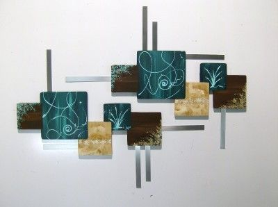 Metal Wall Hangings huge teal &brown contemporary abstract square wood metal wall
