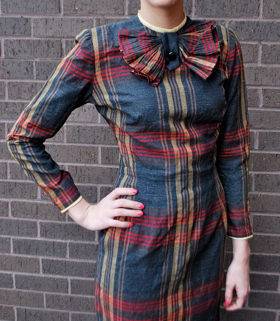 Vintage 1950's Plaid Fitted Dress by vintagemission on Etsy, $38.00