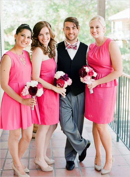 Bright Pink Wedding At Westlake Village Inn Pink Bridesmaid Dresses Bright Pink Wedding Pink Brides Maid Dresses,Wide Width Black Dress Sandals For Wedding Memory Foam