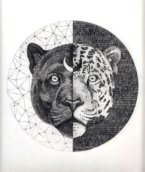 713f536508837 Awesome yin yang panther and cheetah. Style: Geometric. Color: Black. Tags:  Cool, Best, Creative, Amazing