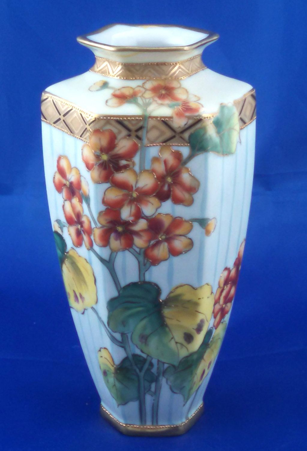 Nippon hand painted hexagonal porcelain vase, floral design, beaded accents 1911-1921 by tlgvintageart on Etsy