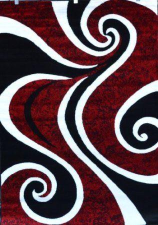 Amazon Com 0327 Red Black Swirl White Area Rug Carpet 5x7 Modern