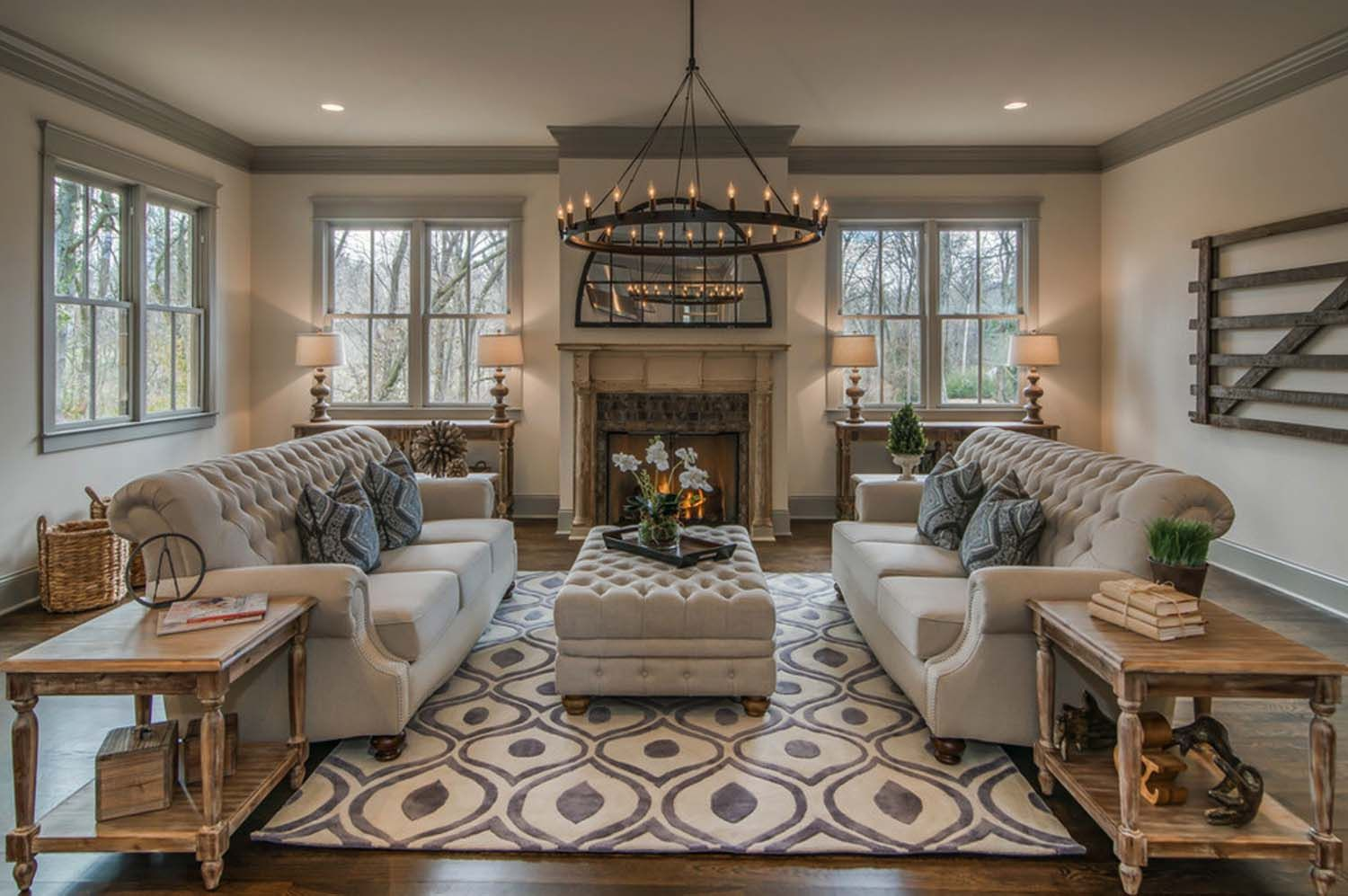 Tudor Style Inspired Dwelling With Reclaimed Barn Wood In Nashville Farm House Living Room Transitional Decor Living Room Transitional Living Rooms #tudor #style #living #room