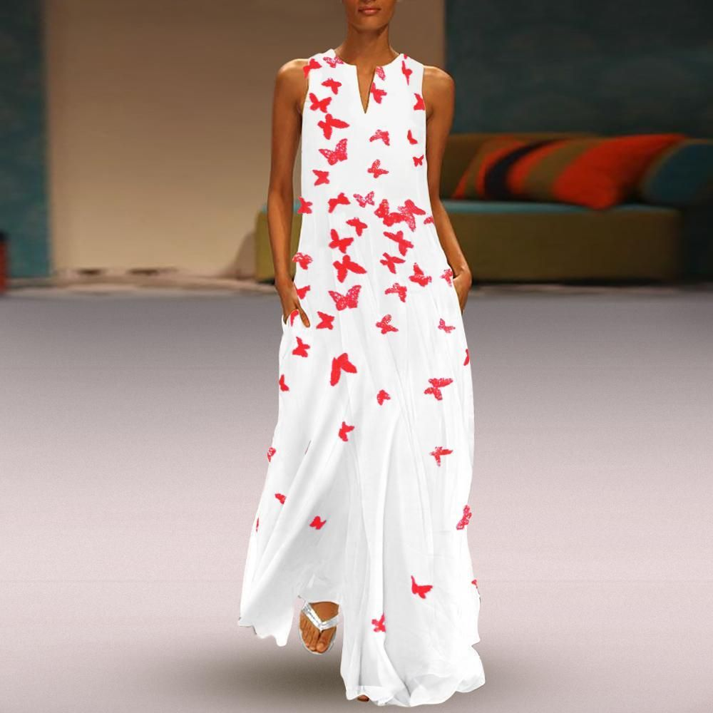 6a77f7b0 2019 Chinese Butterfly Printed Maxi Shift Dress in 2019 | Fashion ...
