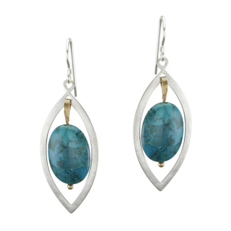 Pointed Oval with Turquoise Bead Earring