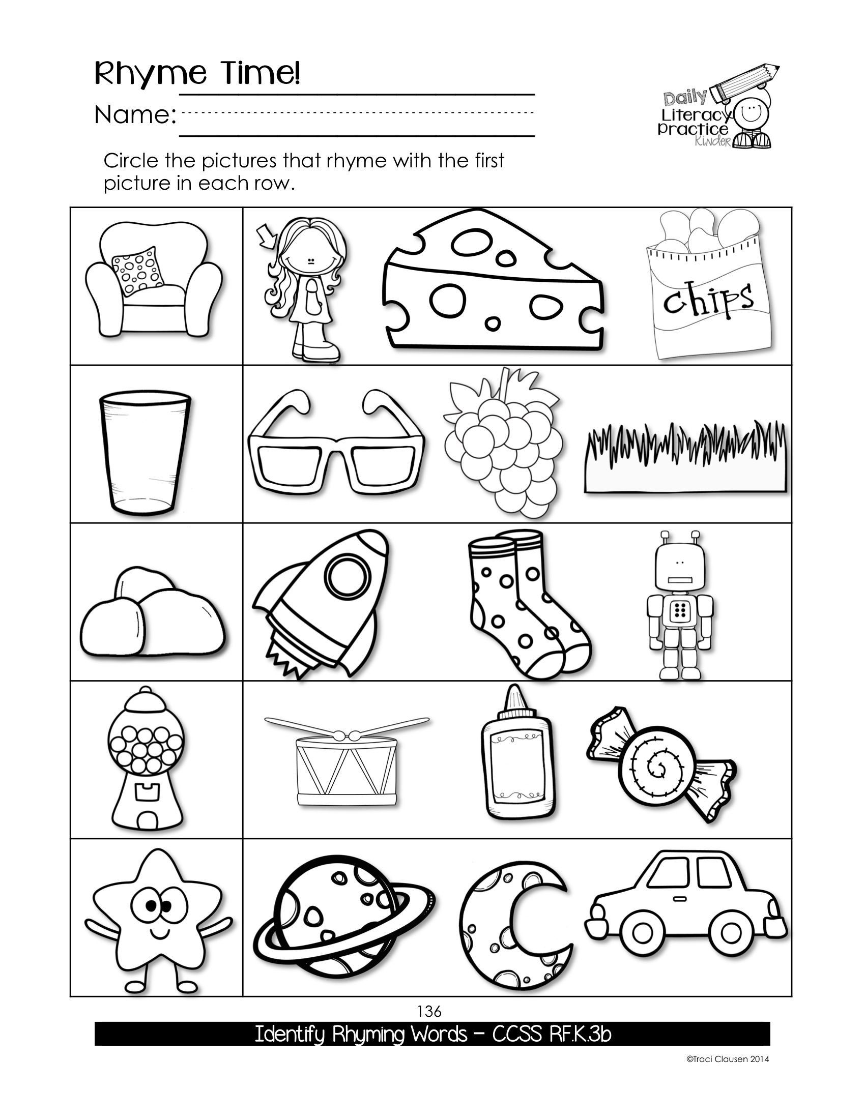 Rhyming Worksheets For Kindergarten In
