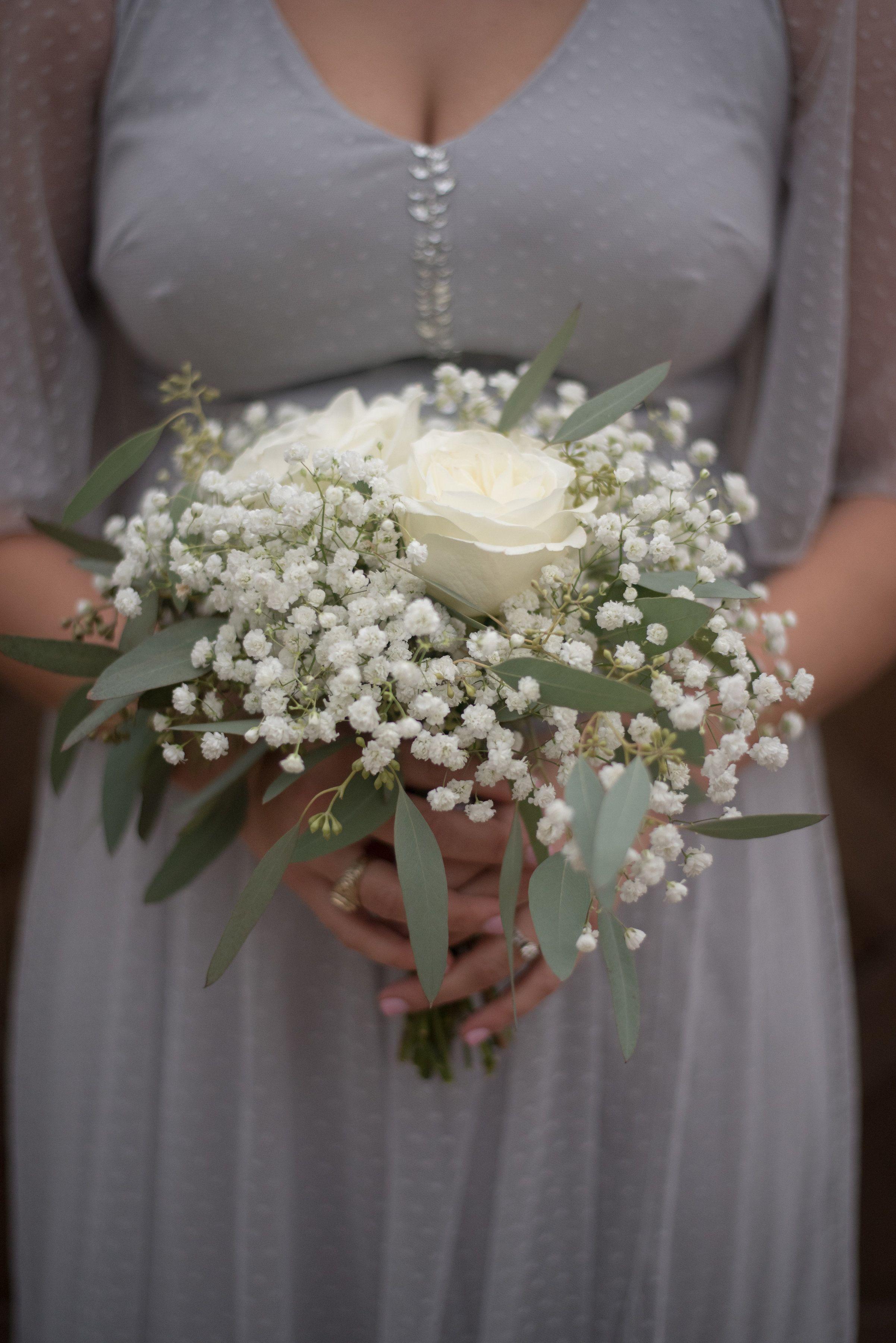Babys breath eucalyptus white rose bouquet kate co