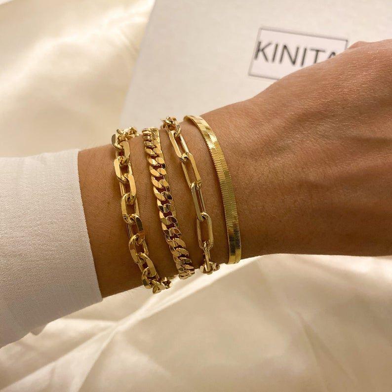 Link chain bracelet, stacking bracelets, gold pape