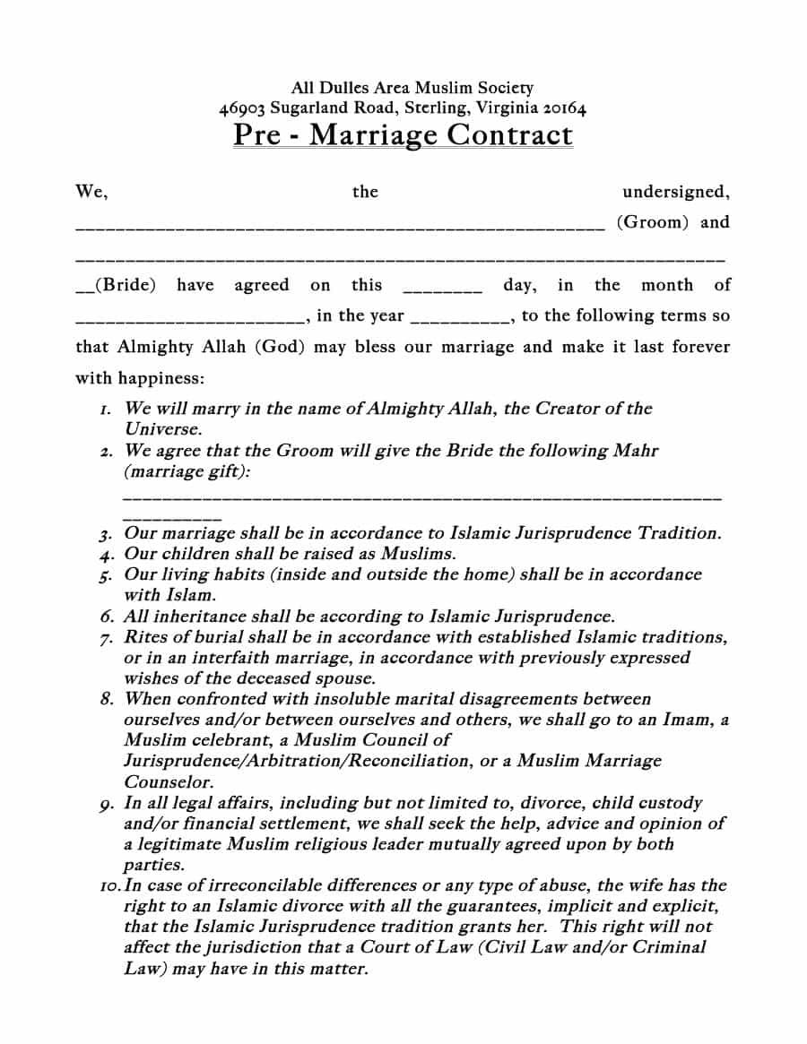 superbe Marriage Contract Sample - 33 Marriage Contract Templates [Standart,  Islamic, Jewish By : templatelab.com If want to get the agreement to be in  force as you ...