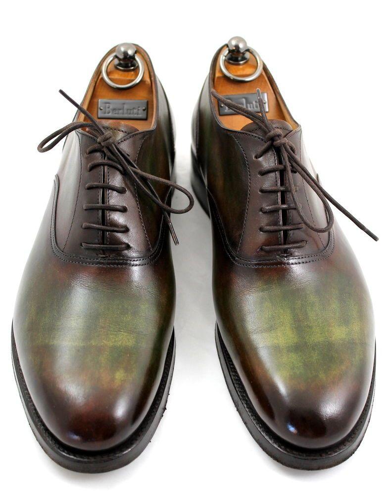 67f152ed5ce89 BERLUTI 9 Brown/Green Patina Leather Luxurious Men's Lace up Shoes #Berluti  #SlipOns