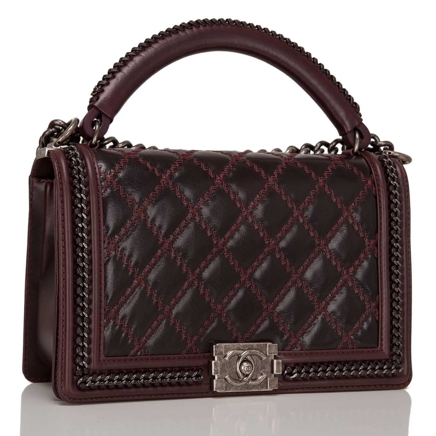 93d263ce190170 Chanel Burgundy Boy Bag With Top Handle | Closet - Bag Chanel | Bags ...