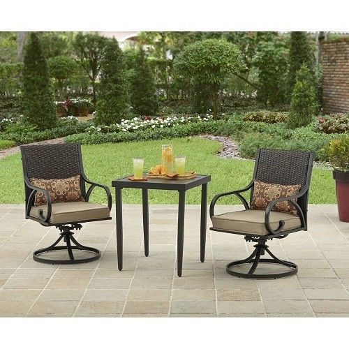 Wicker Patio Bistro Set Garden Backyard Furniture 3 Piece Chairs Table Clearance And Patios