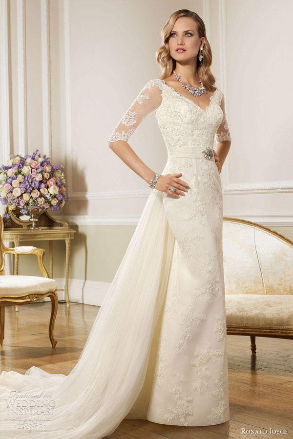 Ronald Joyce Wedding Dresses 2013 Lace Sheath Gown Sleeves